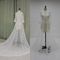 Wholesale Custom Made Bridal Jackets - Elegant Long Formal Wedding Bridal Coat Lace Appliques Tulle Jackets Custom Made Women's Sheer Coats with Sleeves