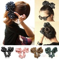 Wholesale Korean Ponytail Style - Lovely Big Rabbit Ear Bow Headband Headwear Hair Ribbons Ponytail Holder Hair Tie Band Korean Style Women Accessories 1NV3
