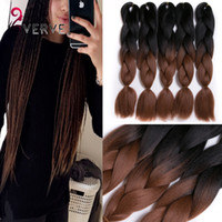 Wholesale two tone hair color styles - VERVES Ombre Braiding Hair brown two tone 24inch High Temperature Fiber ombre braiding hair Extension yaki style synthetic hair bundles