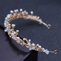 Bandeaux Pour Femmes Mariées Pas Cher-Pearl Wedding Bride Flower Tiara Hairbands Headwear pour femmes Floral Crystal Bridal Party Prom Crown Hair Accessoires de bijoux