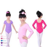 Wholesale Ballet Clothes For Girls Yellow - Children Kids Pink Cotton Short Long Sleeve Ballet Dance Leotard Clothes Girls Gymnastics Dancewear For 4-14 Years