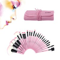 Wholesale Stylish Cosmetic Bags - NEW 24Pcs Makeup Brushes Set Oval Beauty Stylish Cosmetics Eyebrow Shadow Powder Pincel Make Up Maquiagem Tools + Pouch Bag