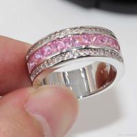 розовое кольцо пандора оптовых-Принцесса вырезать роскошный красивый розовый сапфир Diamonique 10KT белого золота заполнены женщины имитация Алмаз обручальное кольцо pandora подарок Sz5-11