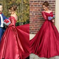 Wholesale Elegant Satin - 2017 Red Lace Sheer Off The Shoulder Long Sleeve Wedding Dresses Elegant Elastic Silk Like Satin Arabic Dubai Bridal Gowns EN8237