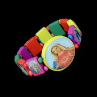Wholesale Wood Saints - Cartoon Pattern Wooden Jesus Bracelet Saints Rosary Religious Kids Boy Girl Bracelets & Bangles Fashion Wooden Jesus Bracelets DHB222