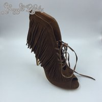 Wholesale Shoe Making Adhesive - 2016 Deep Brown Womens Sandals Tassel Real Image Fashion Womens Summer Style Shoes Elegant Plus Size High Thin Heels Custom Made Hot Sale