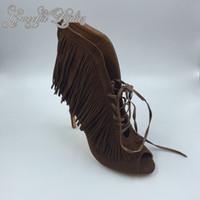 Wholesale Womens Elegant Heels - 2016 Deep Brown Womens Sandals Tassel Real Image Fashion Womens Summer Style Shoes Elegant Plus Size High Thin Heels Custom Made Hot Sale