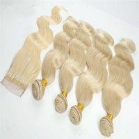 en iyi sarışın uzantılar toptan satış-Moda Sarışın Vücut Dalga Saç Örgü Kapatma Ile 4x4 Ücretsiz Orta Üç Bölüm Dantel Üst Kapatma Demetleri Ile Brezilyalı Saç Uzantıları