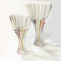 Wholesale blowing art resale online - Hot Multicolour Beach cup Acrylic goblet cocktail KTV bar supplies Drinkware Wine Glasses