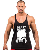 Wholesale Clothes Printing Equipment - Wholesale-New Skeleton head print Gym Singlets Mens Tank Tops Shirt,Gym Bodybuilding Equipment Fitness Stringer Tank Top Sports Clothes