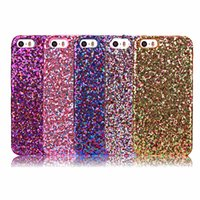 Wholesale Glue For Bling Phone Case - 2016 NEW Glitter Hard PC Case Bling Veneer Gluing Leather Shiny Sparkle skin Colorful Back Cell Phone For iPhone 5 5S