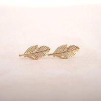 Wholesale New Trendy Earrings - Wholesale New Fashion Gold Silver Rose Gold Plated Trendy Fallen Leaves Studs Earrings for Women Simple Women Feather Earrings Jewelry