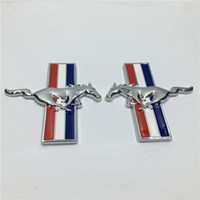 Wholesale Mustang Auto Accessories - 2Pcs Auto Accessories Metal 3D Running Horse for Mustang Door Fender Tali Emblem Badge Sticker Decal