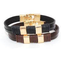 Black and Brown Color Couples Braceletes de pulso de alta qualidade PU pulseiras como presentes de Natal para venda WO15