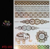 hint vücut çıkartmaları toptan satış-YENI SıCAK vücut sanatı boyama dövme çıkartma glitter Metal altın gümüş geçici flaş dövme Tek Kullanımlık hintliler dövmeler dövme HJIA659