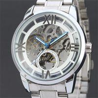 Wholesale Watch Female Mechanical - 2016 new winner men women winner clock hollow classic fashion Stainless autonatic female self-wind mechanical wrist watches Wholesale