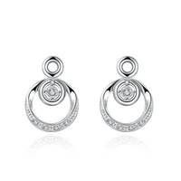 Wholesale Crystal Circle Chandelier - Casual Sporty Circle with Circle Pendant Cubic Zirconia Dangle Earrings CZ Diamond Earring 925 Jewelry Silver Plated Fashion Crystal Earring
