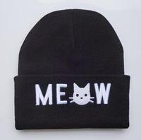 Wholesale Hip Hop Beanie For Women - Yjyb2b 2016 New black cute MEOW CAT beanie hats for men women 2016 brand new warm winter ski cap hip hop beanies 1 pcs free shipping