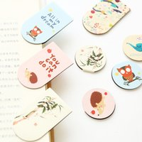 Wholesale Cute Metal Bookmark - Wholesale-(16 Pieces Lot) Lovely Cute Colorful Magnetic Bookmarks Cartoon Students Mini Page labels Fresh Style Hot Reading Use Stationary