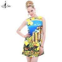 Wholesale European Summer Mini Dress - Wholesale-New Fashion Women Summer Dress 2016 Runway European Designer Sleeveless Tank A-Line Print Party Dresses Casual Mini Dress
