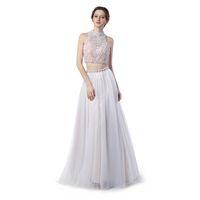Wholesale High Shoulder Jackets - Formal Evening Gowns Dresses Vestido De Festa Longo Para Casamento 2017 Sexy Backless Two Pieces Prom Dresses