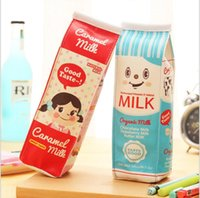 Wholesale Korean Style PU Milk By Cute Mini Bag Pencil Waterproof Handmade Canvas Pencil Bag Stationery Bags