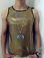 Wholesale Ds Shirt - Men's Stage Sequin Vest Personality Hip-hop T-shirt Rock Punk Tee Hippop Dancing Stage Wear The band DJ DS Clothing Motorcycle Vest