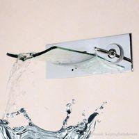Wholesale Bathroom Glass Washbasin - Glass waterfall faucet explosion hotel bathroom washbasin tap wall Mounted Hardware basin faucet