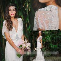 Wholesale Empire Greek Dress - 2016 Luxury Beaded Deep V Neck Long Wedding Dresses Cape Sleeve Hollow Back Western Style Greek Boho Garden Bridal Gown Custom Made