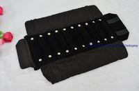 ingrosso sacchetto di rotolo di esposizione dei monili-2pcs nuovo display di gioielli di arrivo di imballaggio velluto nero mini portatili anelli borsa da trasporto sacchetto di gioielli con 10 anello cuscino