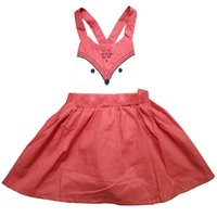 Wholesale Broadcloth Weave - PrettyBaby 2016 summer girls fox dress pink cute fox printed weaving suspender girls clothes free shipping