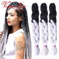 Wholesale Xpression Braiding Hair Wholesale - Ombre Xpression Braiding Hair Two Tone Jumbo Crochet Braids Synthetic Hair Extensions 24 Inches Box Braid 100% Kanekalon Braiding Hair