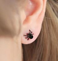 Wholesale Little Black Earring - Popular Earrings for women Korea cute little black spider earrings free shipping