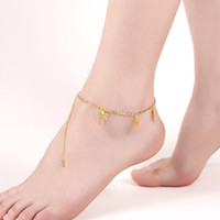 Wholesale 24k Ladies Plating Jewelry - Leaf Anklet Bracelet Five Piece Maple Leaves Charms Ankets 24K Gold Plated Gold Jewelry European and American Popular Lady Accessories