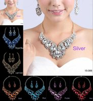 Wholesale Silver Blue Chokers - High Quality Necklaces and Earrings Rhinestone Gold Statement Bridal Jewelry Sets Choker Prom Party Wedding Accessories Free Shipping 2016