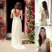 Wholesale Ivory Wedding Beaded Belts - 2016 Boho Ivory Long Beach Wedding Dresses Cheap V-Neck Lace Capped Sleeves Crystals Beaded Belt Backless A-line Floor-Length Bridal Gowns