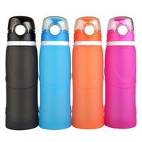 Wholesale 750ML Silicone Roll up Water Bottle Folding Leakproof Outdoor Sport Water Bottle
