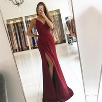 Wholesale Hot Red Evening Dresses - 2017 Red Mermaid Long Evening Dresses V-Neck Split With Pleat Formal Prom Party Gown Custom Made Sleeveless Vestido Longo Hot