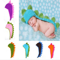 Wholesale Dinosaur Hats - New Hot Fashion Photography supplies the dinosaur baby hats pure manual knitting Modelling of the dinosaur hats knitting Caps 10pcs lot 2724