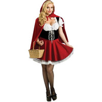 Wholesale Womens Costume Plus Size - Sexy Womens Fairy Tale Little Red Riding Hood Costume For Halloween Cosplay Uniforms Plus Size S-4XL
