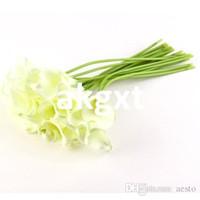 ingrosso rose artificiali blu royal-Dettagli su Calla Lily Bridal Wedding Bouquet 20 testa in lattice Real Touch Bouquet di fiori G9 # D504