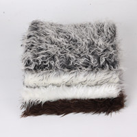 Wholesale Wholesale Fur Baby Blankets - New European Faux fur blanket basket stuffer mongolia fur photography props newborn baby kids photography props