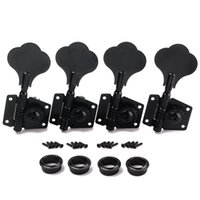 Wholesale Guitar Gears - 4R Bass Guitar Machine Heads Tuners Open Geared Black Tuning pegs keys For Fender Bass-free Shipping