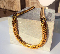 chaîne de liens or jaune 14k achat en gros de-14K SOLID GOLD Jaune CUBAN CHAIN ​​LINK MEN AUTHENTIQUE COLLIER 23,6
