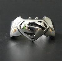 Wholesale Bat Superman - Size 8-13 Fashion Jewelry Cool Hot New Band Superman Bat Man Ring 316L Stainless steel Polishing Biker ring