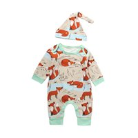 Wholesale Baby High Neck Tops - High Quality Baby Summer Boy Girl Clothes Cute Rompers Newborn Children Cotton Short Sleeve Fox Romper Hat 2PCS Outfit Casual Top Sunsuit