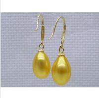 Wholesale Golden Akoya Pearls - Natural golden yellow12X14mm AAA drop akoya pearl dangle hook earring 14K