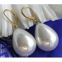 Wholesale 18 Mm Shell Pearl - 2016 NEW Charming Natural 13-18 mm White Drip Shell Pearl Earring Dangle 14k