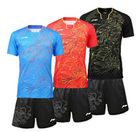 Wholesale Table Settings Black - New 2016 Li-Ning badminton wear T-shirts sets Rio Olympics, polyeater absorption breathable table tennis sports jersey and shorts suits