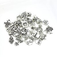Wholesale Silver Craft Bracelets - 120pcs Mixed Tibetan Silver Plated Charm Fashion Pendants Jewelry DIY Jewelry Making Craft Handmade Fit European Bracelet Necklace 120styles